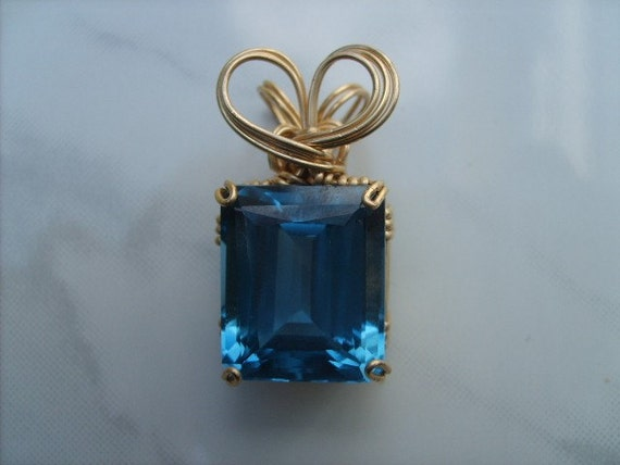 Faceted Blue Topaz and Gold-filled Pendant