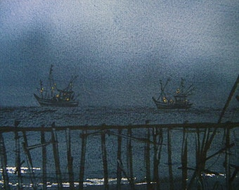 Free Shipping - Night Fishing Boats 2 (Original Watercolor Painting)