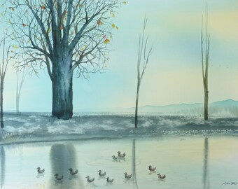 Free Shipping -   Pond With A View (Original Watercolor Painting)