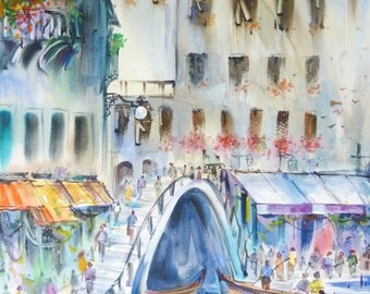 Free Shipping - Venice,Italy (Original Watercolor Painting)