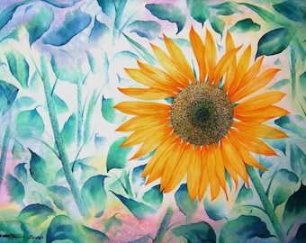 Free Shipping - Floral Flower Sunflower Dreams (Original Watercolor Painting)