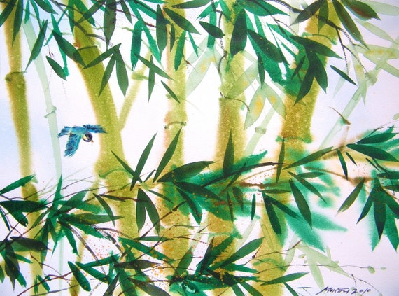 Free Shipping - Bird Playtime In Bamboo Woods (Original Watercolor Painting)