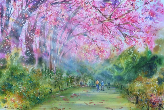 Free Shipping -  Cherry Blossoms In The Park (Original Watercolor Painting)