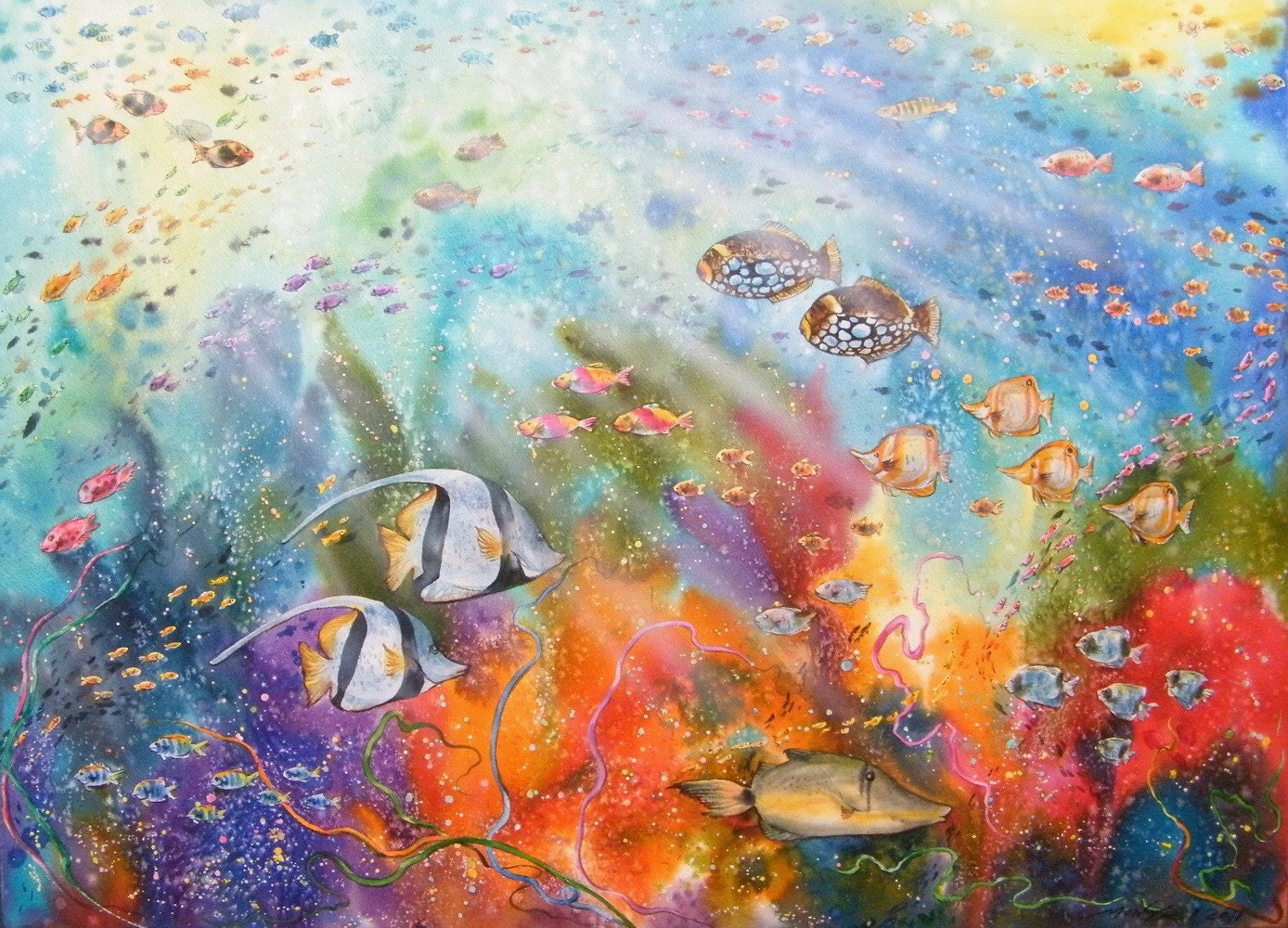 Free Shipping Underwater Melody Original Watercolor