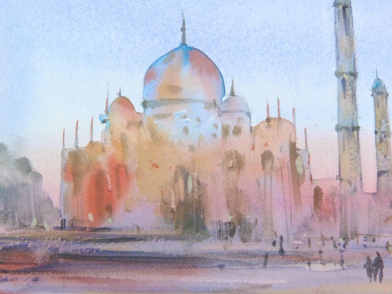 Free Shipping Taj Mahal Original Watercolor Painting