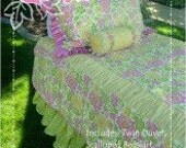 SALE Lila Tueller Boutique Pattern Natalie Bedding SET Girl's Sham, Bed Skirt and Duvet Twin