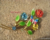 RESERVED for Robbie  Vintage Butterfly Floral Brooch Rhinestones and Enamel Red Blue Yellow and Green Beauty