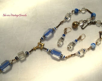 Art Deco CZECH Necklace and Earrings Repousse with Blue   Lampwork Glass Beads