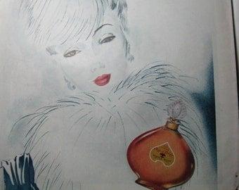 1943 Harpers Bazaar Perfume Ad  Gorgeous Art Work