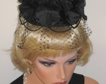 SALLY VICTOR   Cocktail Hat  1950s Pinup Girls  Black  Beauty Small  Facinator