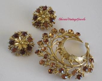 Vintage  Stylized  Topaz Rhinestone  Brooch and Earrings
