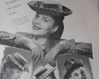 Harpers Bazaar Oct 1943 Dunlap Hat Ad