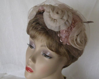 Vintage  Pink Chiffon Hat  Spring Floral  Beauty