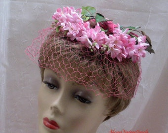 Vintage Floral Hat Pink Jasmine Illusion Veil Wedding Spring Summer Millinery