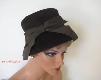 Vintage Pinup Girls 1950s Chocolate Brown Wool Felt  Hat   Henry Pollak Vintage Millinery