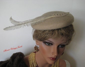 Vintage  Cocktail  Hat   Beige Wool  Rhinestone Trim Extravagant Feathers and Veil Old Hollywood Glamour
