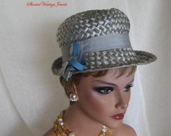 Vintage Mod 1960s  Baby Blue Straw Hat  Sleek Sophistication