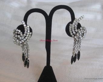 Hattie  Carnegie Earrings Glitzy Dangle Rhinestones and Jet Glass Vintage Evening Beauties