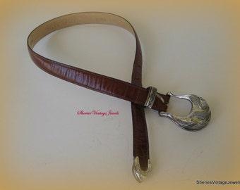 Vintage Genuine Alligator Belt  Womans Brown  Italian  Belt  lined in Calfskin size Small 1 inch wide