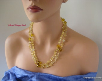 Vintage Citrine Necklace Faceted Crystal Beads with Quartz Nuggets  wear Single or Double Strand