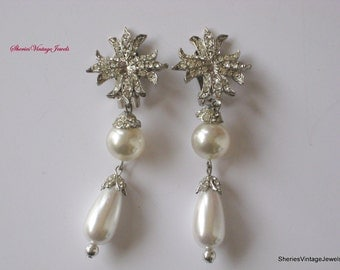 Art Deco Flapper  Dangle Earrings Pearl and Pave Rhinestone  3 1/2inch Long Ivory Beauties