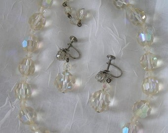 VIintage Crystal  Bead Necklace  Drop Earrings Iridescent Color Sparkle & Shine