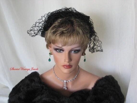 Vintage Cocktail Hat  Seductive Black Velvet  with Bewitching Veil