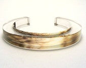 Golden Sunset Bangle Bracelet Enchanted Silhouette Trees Acrylic Plastic Cuff