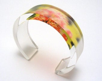 Pink Flower Bangle, Perspex Plastic Cuff with Allium Bloom