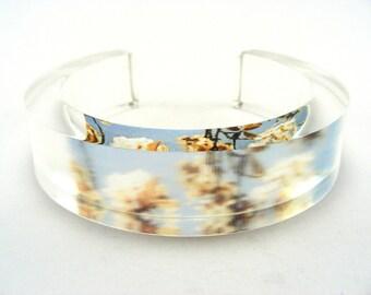 Medium Acrylic Plastic Bangle, Summer Cherry Blossom Chunky Jewellery Handmade