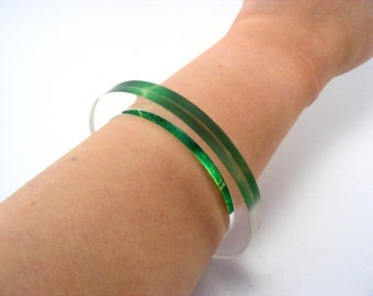 Emerald Green Bracelet XL Large Acrylic Bangle, Handmade Jewellery Special Offer
