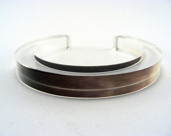 Winter Frost Golden Bangle Plexiglass, Beige Brown Branches Handmade Perspex jewelry Special Offer
