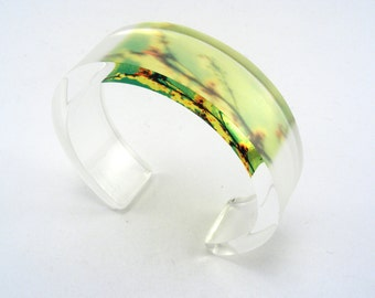 Plexiglass Bangle Summer Blossom Green Yellow, Flower Design,  Handmade Acrylic Jewelry