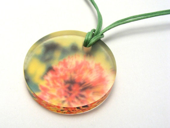 Perspex Circle Pendant - Pink Acrylic Pendant - Round Necklace - Floral Pendant - Plastic Necklace - Summer Flower Pendant - Jessica Sherrif