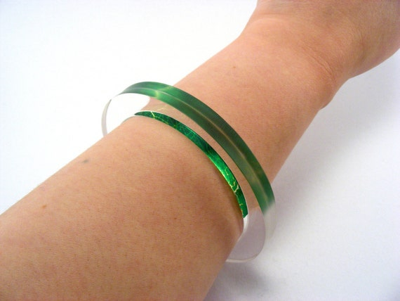 Lime Green Bangle, Acrylic Perspex Handmade Jewellery Special Offer