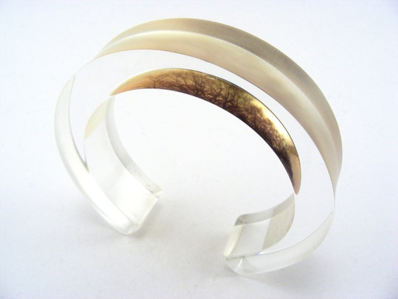 Perspex Bangle, Woodland Trees Golden Colour Chunky Jewellery -Handmade - Special Offer-