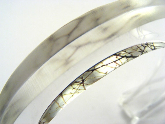 Winter Bangle Silver Grey Branches, Jessica Sherriff Handmade Perspex Jewelry Special Offer