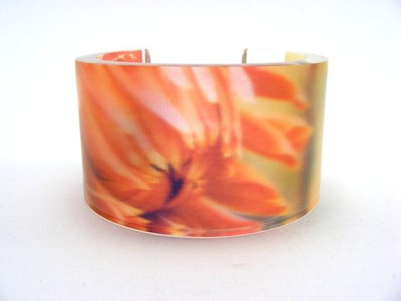 Flower Perspex Cuff Bangle, Wide Cuff Salmon Pink Colour, Acrylic Handmade Cuff
