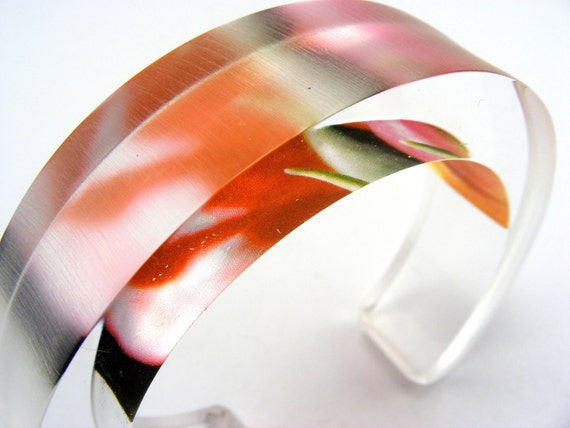 Chunky Bangle Lucite Acrylic Bracelet Pink, Abstract Floral Pink colours Chunky Jewelry Handmade
