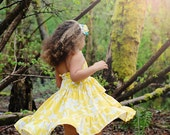 Amazing Gracie LITTLE MISS SUNSHINE Cotton Jersey Halter Ruffle Dress Made to Order 24m/2 to 6