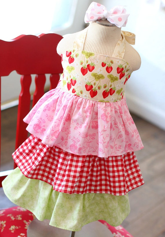 Amazing Gracie STRAWBERRY SWEETCAKE  Ruffle Dress Choose your Size....12/18m to 6