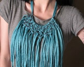 Turquoise  Fringe Seaweed Necklace