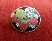 VIntage Strawberry Pin Halmark Gold Metal and Enamel
