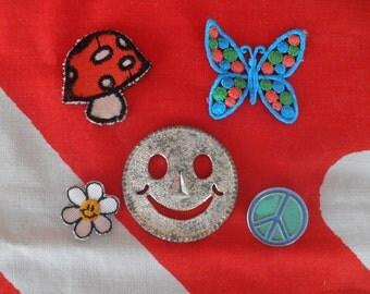 Vintage Destash 60's 70's Mushroom, Smiley Face, Daisy, Peace Sign Lot