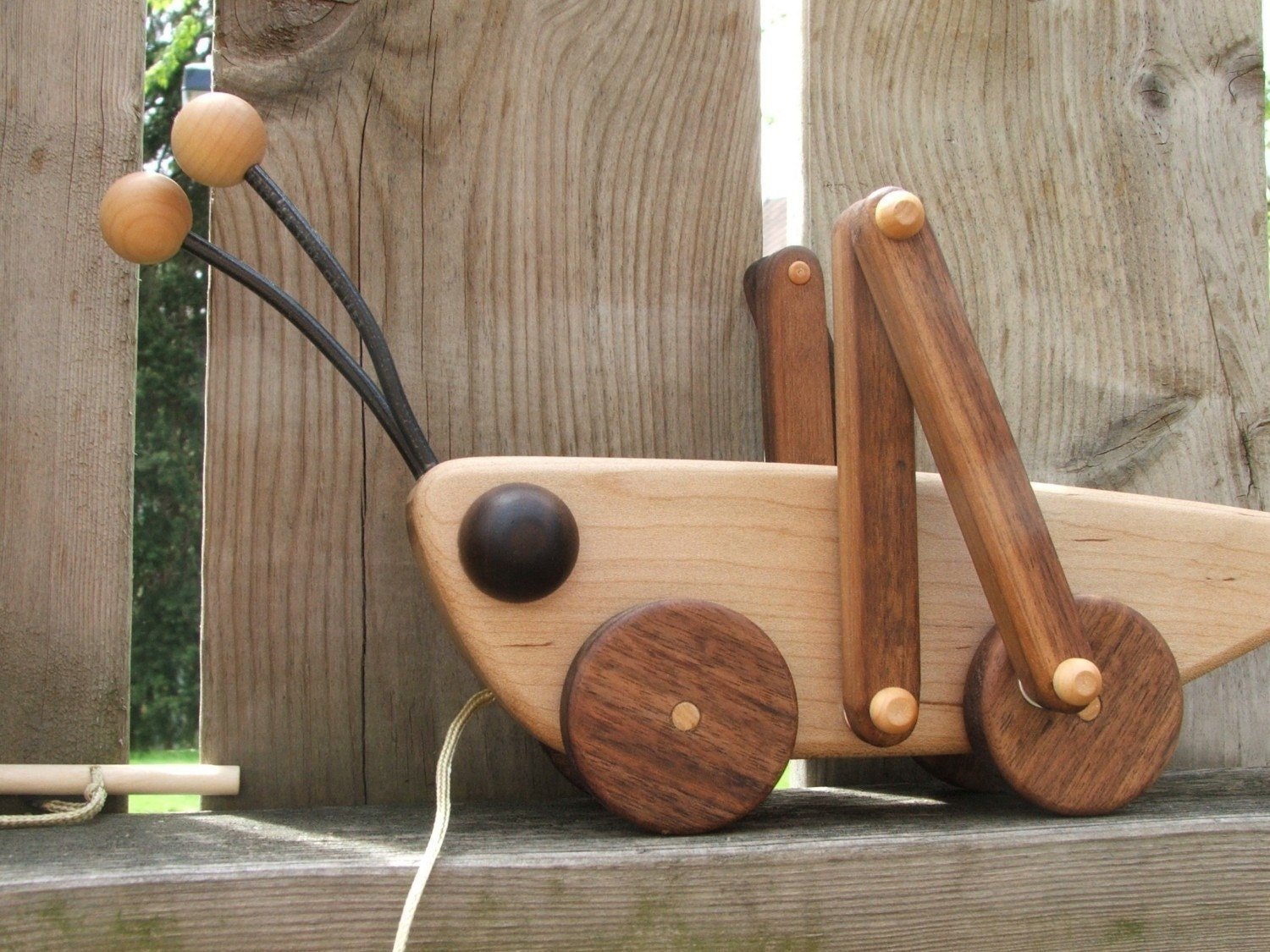 Toys Are Us Wooden Toys : Grasshopper wooden pull toy in maple and walnut by