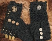 Lacy Black Gloves, Fingerless and Romantic - 1 Pair