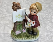 SUPER GROOVY SALE - Child artist figurine with easel and squirrels
