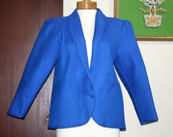 1980's Bright Blue Jacket with Billowed Sleeves