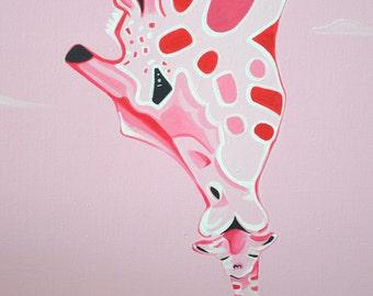 Original 16x20 Standard Canvas Painting Pink Baby Giraffe and Mother Giraffe Nursery Girl  Room Safari Decor Personalization