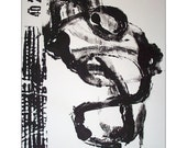 ORCHESTRA 23 . original abstract art black and white modern painting / ELSTON